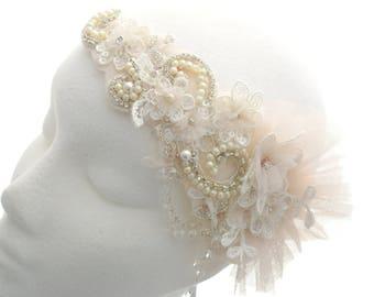 Blush bridal tiara, tulle hair tie