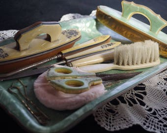 Early 1900's Antique Vanity Set - Victorian Era - Celluloid