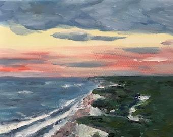 Oil Sunset Landscape Painting, seascape, small artwork, wall art, gift