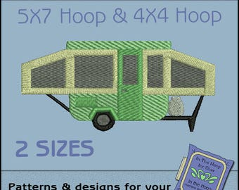 ITH Pop Up Camper Machine Embroidery Design - Camping Embroidery File - Filled Stitches