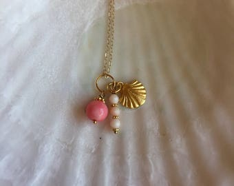 seashell charm necklace with pink coral( seashell series #25)