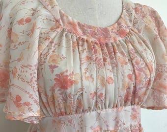 70's Peach Floral Maxi Dress