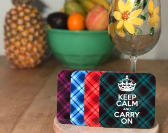 Keep Calm and Carry On 4-piece coaster set