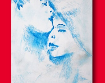 Sketch of a couple in color blue on white background
