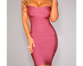 Pink strapless Bandage dress