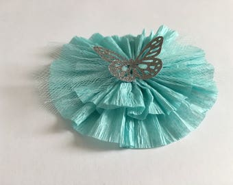 2 Light pink or Tiffany blue rosettes with tulle and a glitter butterfly center