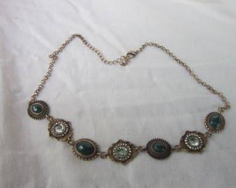 Vintage Costume Gold Tone 7  Medallion Fancy Necklace
