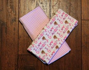 Burp Cloths Set 2 Girls Baby Shower Gift Bur-pees Burp Rag Nursery flannel Terry