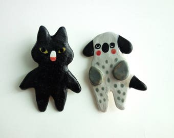 Pet Set/ Cat & Dog Brooch Set