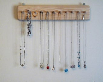 Wall-Hung Wood Jewellery Hanger with 11 Pegs