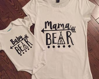 Mama bear and baby bear set