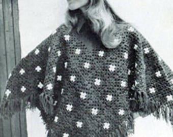 Granny Square Women's Poncho and Cap, Crochet Poncho Pattern, Vintage Pattern