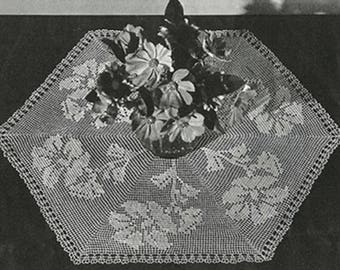 Hexagon Doily Pattern #9-137, Hexagon Flower Crochet Pattern, Vintage Pattern