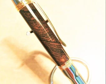 Cross-Cut Ziricote Wood Pen - Executive Exotics - Custom Hand Turned Exotic Wooden Ballpoint Twist Pen
