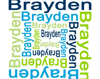 Name Fabric, Personalized Name Fabric, You Choose Name and Colors