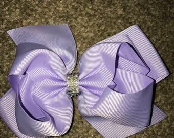 Purple diamanté 8 inch bow
