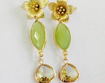 Tiana Luxe Earrings- Gold Azalea ear Hooks with Green Chalcedony and Citrine Bezels in Gold Vermeil