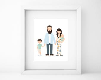 Custom Family Portrait/Family Portrait Custom/Family Portrait/Custom Portrait/Family Portrait illustration/Personalized Art