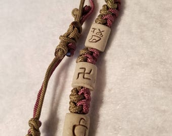 Woven bracelet with ceramic beads