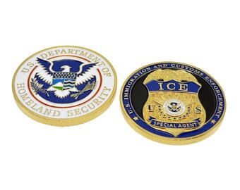 Immigration and Custom Enforcement (ICE) Homeland Security (DHS) Special Agent Federal Police Shield Challenge Coin