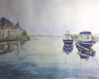 aquarelle : le port de Sauzon en Bretagne, France. watercolour of the Port of Sauzon in Bretagne in France