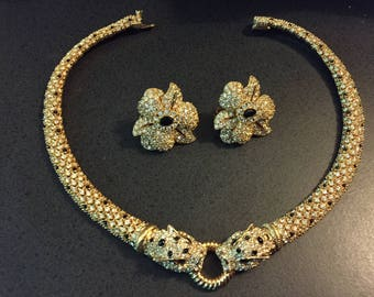 Ciner floral earrings and panther rhinestone necklace