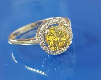 Handmade Citrine Ring,  CITRINE Stone Ring, One Stone Ring, Yellow Stone Ring, Unique Wedding Ring, Engagement Design Ring.  7 mm Stone Size