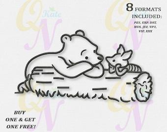 BOGO FREE! Monochrome Winnie the Pooh Embroidery Designs, Winnie the Pooh Machine Embroidery Designs, Digital instant download file, #068