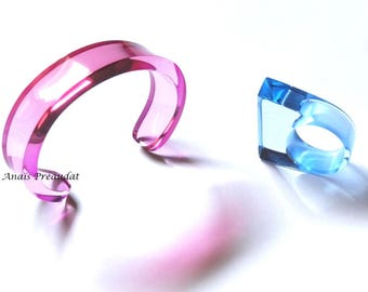 Bracelet Plexiglas transparent fuchsia to purple