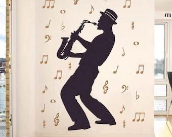 saxophonist fabric-sticker wall decoration