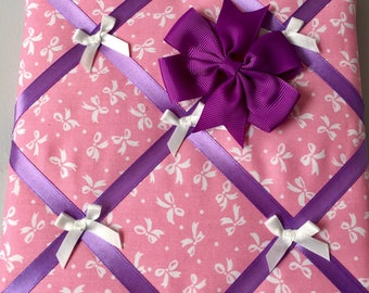 Pink and Purple bow holder / notice board 20x20cm