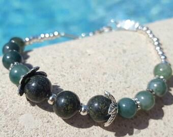 Semi precious stones adjustable bracelet - handmade - single