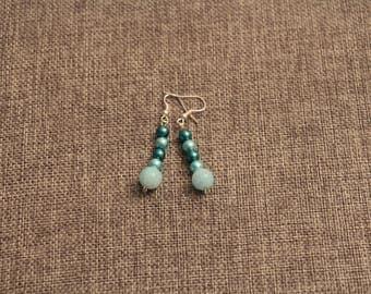 Handmade Blue Glass Pearl Earrings
