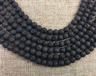Round beads 8 mm Black Lava Rock 16'' St