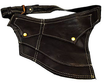 Black Leather Pouch Moon Model - NEW