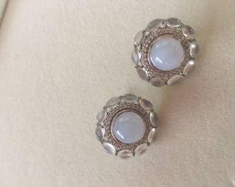 Sterling Silver Blue Chalcedony and Blue Moonstone
