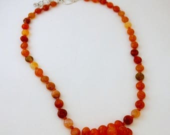 Multi-color Carnelian cluster necklace