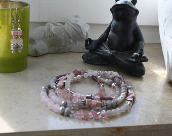 Favorite shade of pink? Then you are right here! Necklace with Rose Quartz & quartz