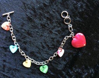 Large pink heart bunting charm bracelet