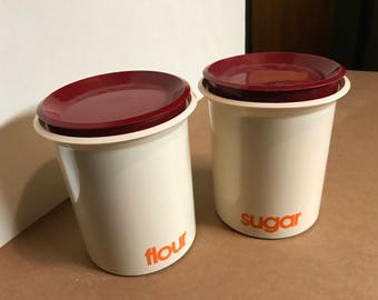 1970's Beige and Red Canister Set