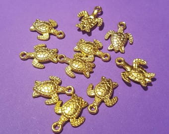 Antiqued Gold 3D Turtle Charms