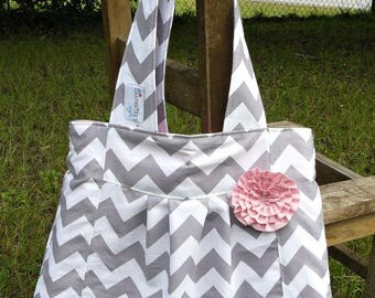 Gray chevron with pink lining and rosette, pleated purse from The Carpenter's Wife