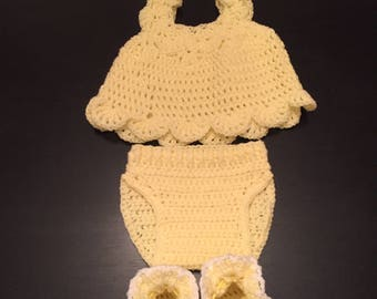Crocheted Yellow Layette Set for Girl