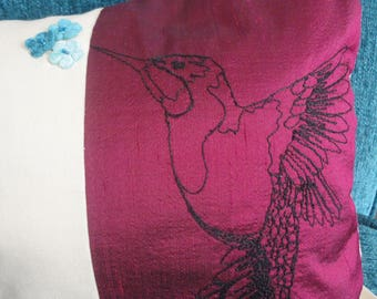Red and Cream Hummingbird Cushion Cover made using Free-hand Machine Embroidery