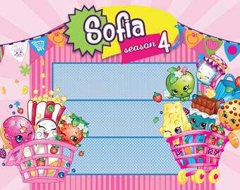 PRINTED Custom Shopkins Birthday Party Backdrop - Shopkins Birthday Party Background - Shopkins Party Banner Decoration
