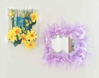 Fluffy Dorm Room Decor Lilac Feather Mirror for Teens