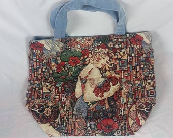 Handmade tote bag. Custom pattern FLORAL