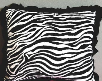 Decorative Zebra Print Pillow with Ruffle