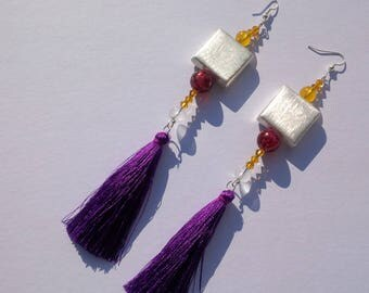 Silks collection-Puff purple-earrings in silver, silk and Crystal