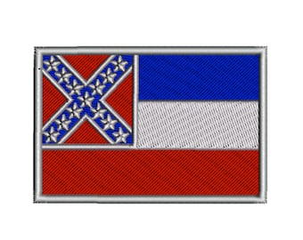 Mississippi State Flag Machine Embroidery Design Digital Instant Download US State Flags United States of America USA Hoop Size 4x4 in